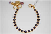 "Mariana 8"" Tanzanite Swarovski Crystal Tennis Bracelet Yellow Gold Plated"