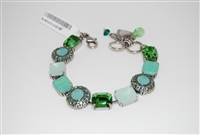 "Amazing Mariana 8"" Statement Bracelet with Green Swarovski Crystals from the Fern Collection and .925 Silver Plated"