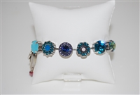 "Mariana ""Sophia"" 8"" Statement Flower Bracelet from the Peacock Collection with Swarovski Crystals and .925 Silver Plated"