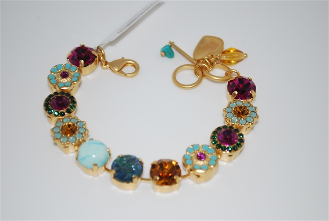 "Mariana ""Sophia"" 8"" Statement Bracelet from the Happy Days Collection with Swarovski Crystals and Yellow Gold Plating"