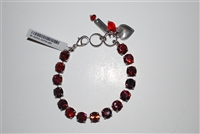 "Mariana ""Bette"" 8"" Lady in Red Tennis Bracelet with Swarovski Crystals and .925 Silver Plated"