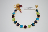 "Mariana ""Bette"" 8"" Peacock Collection with Swarovski Crystal Tennis Bracelet Yellow Gold Plated"