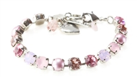 "Mariana ""Bette"" 8"" Crystal Tennis Bracelet with various pink Swarovski Crystals from the Antigua Collection with .925 Silver Plating"
