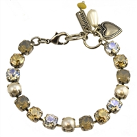 "Mariana ""Bette"" 8""  Champagne and Caviar Collection Swarovski Crystal Tennis Bracelet .925 Silver Plated"