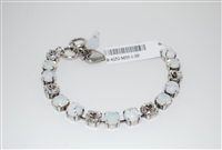 "Mariana ""Bette"" White Howlite Minerals, Clear, and Opal Swarovski Crystals Strand Bracelet in .925 Silver Plated"