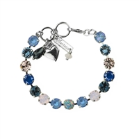 "Mariana ""Bette"" 8"" Blue Morpho Tennis Bracelet with Swarovski Crystals and Rhodium Plated"