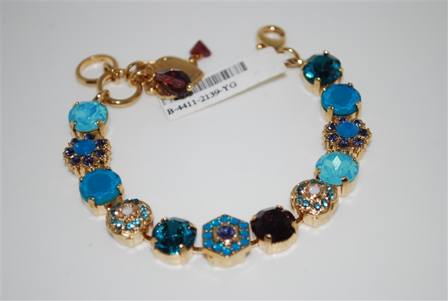 "Mariana ""Diana"" Peacock Statement Bracelet from the Peacock Collection with Swarovski Crystals and Yellow Gold Plated"