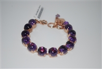 "Mariana 8"" Tennis Bracelet with Amethyst Minerals with Rose Gold Plating"