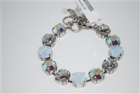 "Mariana 8"" Crystal Tennis Bracelet with clear, aurora borealis, and white opal Swarovski Crystals from the On a Clear Day with Antique Silver Plating"