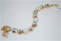 "Mariana 8"" Crystal Tennis Bracelet with clear, aurora borealis, and white opal Swarovski Crystals from the On a Clear Day with Yellow Gold Plating"