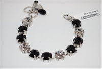 "Mariana 8"" Crystal Tennis Bracelet with clear and Jet (Black) Swarovski Crystals from the Checkmate Collection with .925 Silver Plating"