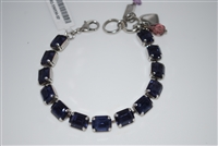 Mariana Rectangular Cut Crystal Bracelet with Tanzanite Swarovski Crystals .925 Silver Plated