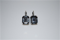 Mariana Black Diamond Emerald Cut Earrings with Swarovski Crystals and .925 Silver Plated
