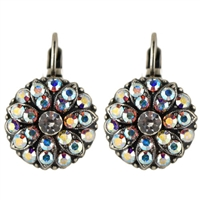 Mariana Guardian Earrings with Clear Aurora Borealis Swarovski Crystals and .925 Silver Plated