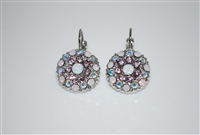 Mariana Guardian Earrings with Rosewater, Clear AB, and White Opal Swarovski Crystals and Rhodium Plating