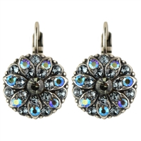 Mariana Guardian Earrings with Black Diamond and Indian Sapphire Swarovski Crystals and .925 Silver Plated.