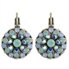Mariana Guardian Earrings with Blue Opal, Light Sapphire, and Pacific Opal Swarovski Crystals and .925 Silver Plated.
