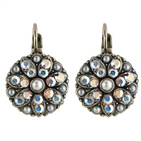 Mariana Guardian Earrings with Pearl and Clear Swarovski Crystals and .925 Silver Plated