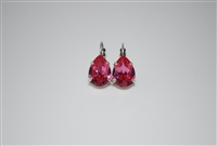 Teardrop Earrings with Rose Swarovski Crystals Silver Plated