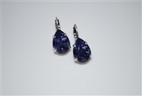 Teardrop Earrings with Tanzanite Swarovski Crystals Silver Plated