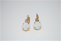 "Mariana ""Audrey"" Round Drop Earrings with clear and white opal Swarovski Crystals with gold plating"