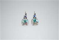 "Mariana ""Audrey"" Round Drop Earrings with Clear Aurora Borealis Swarovski Crystals Silver Plated"