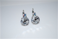 "Mariana ""Audrey"" Round Drop Rivoli Clear Earrings with Clear Aurora Borealis Swarovski Crystals Silver Plated"