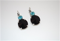 "Mariana ""Audrey"" Round Drop Rivoli Cut Jet and Light Turquoise Earrings Silver Plated"