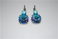 "Mariana ""Audrey"" Round Drop Rivoli Cut Vitral  Light Earrings with Turquoise Swarovski Crystals Silver Plated"