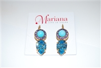 Mariana Reagatta Teardrop style earrings from the Cuban Collection made of Swarovski Crystals and Gold Plated