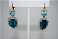 "Mariana ""Tiara"" Earrings Bahamas Collection with Swarovski Crystals and Rose Gold Plated"
