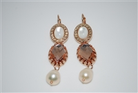 Mariana Statement/Bridal Earrings from the Barbados Collection with Swarovski Crystals and Rose Gold Plated