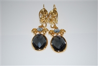Mariana Black Diamond Faceted Cut Dangling Earrings from the Adeline Collection and Yellow Gold Plated