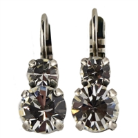 "Mariana ""Chloe"" Round Drop Earrings from the On A Clear Day Collection with Clear Swarovski Crystals Silver Plated"