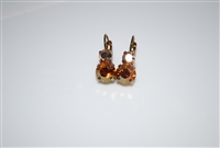 "Mariana ""Chloe"" Round Drop Earrings in Caramel Swarovski Crystals Egyptian Gold Plated"