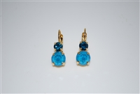 "Mariana ""Chloe"" Round Drop Earrings in Blue Peacock Swarovski Crystals and Yellow Gold Plated"
