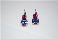 "Mariana ""Chloe"" Round Drop Earrings with Fushia and Tanzanite Swarovski Crystals Silver Plated"