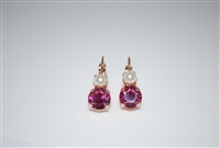 "Mariana ""Chloe"" Round Drop Earrings with Rose and Pearl Swarovski Crystals Rose Gold Plated"