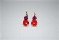 "Mariana ""Chloe"" Round Drop Earrings with Fushi and Red Opal Swarovski Crystals from the Firefly Collection Rose Gold Plated"