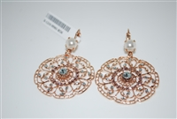 "Mariana ""Wisteria"" 2108 Seashell Rose Gold Plated Filigree Flower Floral Large Statement Swarovski Crystal Earrings"
