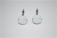 Mariana White Opal Cushion Cut Earrings in Rhodium Plating