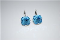 "Mariana ""Bijou"" Drop Earrings with Aquamarine Swarovski Crystals in .925 Silver Plated"