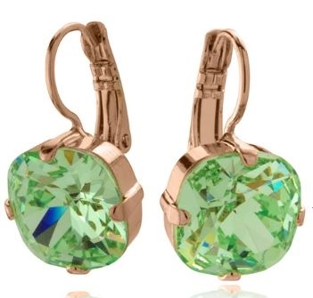 "Mariana ""Bijou"" Drop Earrings with Chrysolite Green Swarovski Crystals with Rose Gold Plating"
