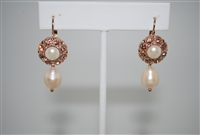 Mariana Statement/Bridal Pearl Earrings from the Barbados Collection with Swarovski Crystals and Rose Gold Plated