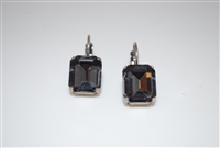 Mariana Earrings with Emerald Cut Black Diamond Swarovski Crystals set in Silver Plating