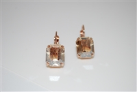 Mariana Earrings with Emerald Cut Champagne Swarovski Crystals set in Rose Gold Plating