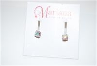 Mariana Studs with Small Swarovski AB Crystals and .925 Silver Plated