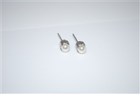 Mariana Studs with Small Swarovski Crystal Cream Pearl and .925 Silver Plated