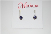 Mariana Studs with Small Swarovski Crystal Tanzanite and .925 Silver Plated