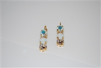 Mariana Triple Tier Earrings from with Swarovski Crystals in Yellow Gold Plating